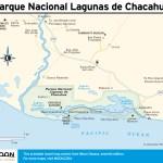 Travel map of Oaxaca's Parque Nacional Lagunas de Chacahua