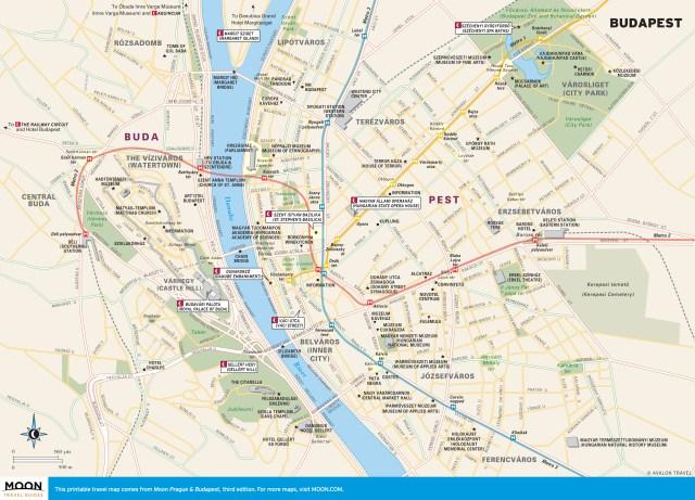 Travel map of Budapest, Hungary