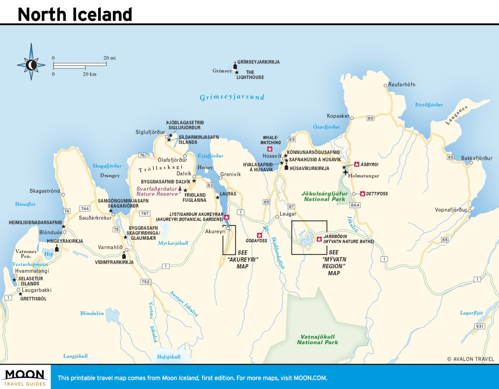 Travel map of North Iceland