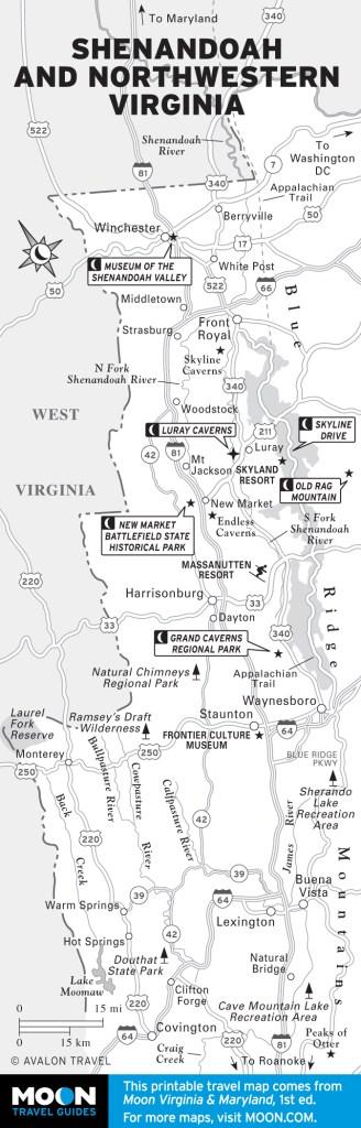 Map of Shenandoah and Northwestern Virginia