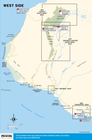 Travel map of West End of Kaua'i, Hawaii