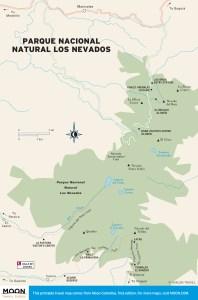 Travel map of Parque Nacional Natural Los Nevados in Colombia