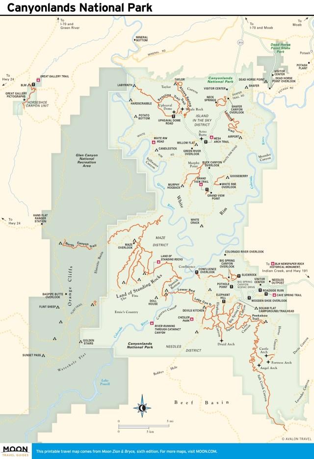 Travel map of Canyonlands National Park in Utah