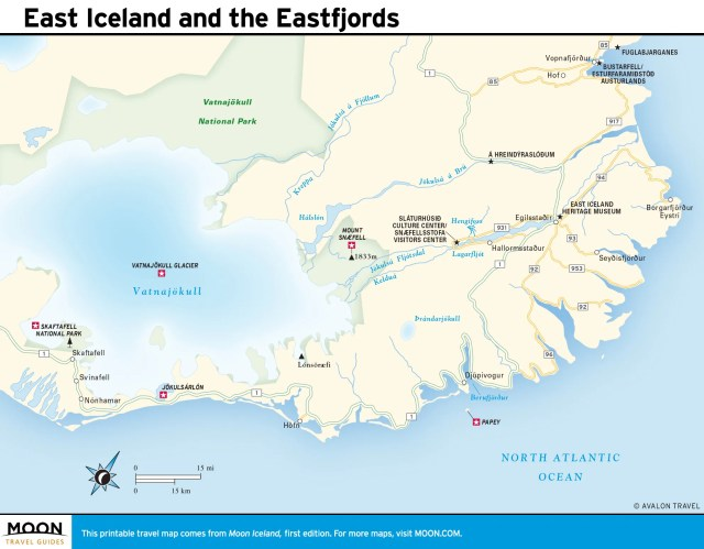 Travel map of East Iceland and the Eastfjords