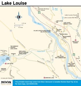 Travel map of Lake Louise, AB