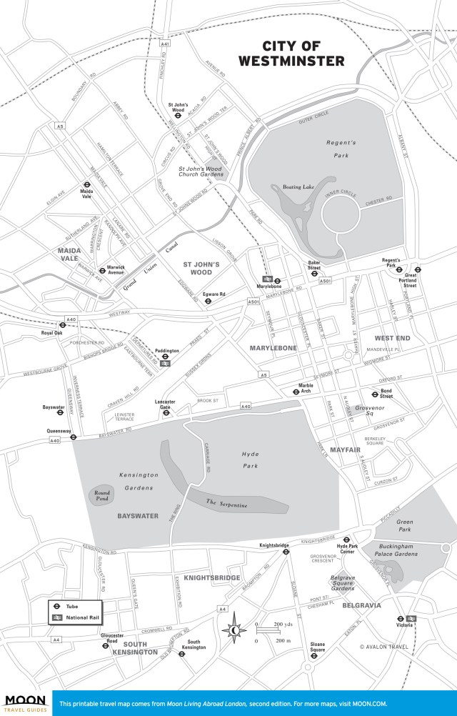 Travel map of City of Westminster