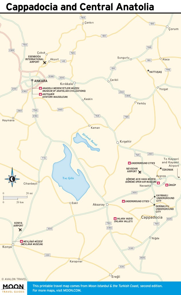 Travel map of Cappadocia and Central Anatolia