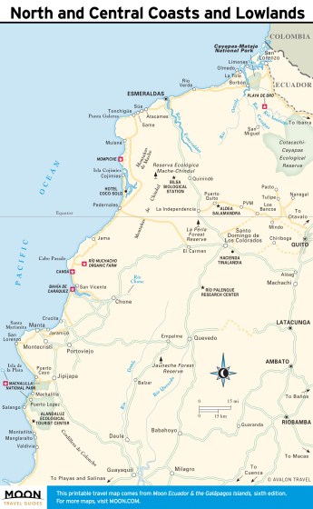 Travel map of North and Central Coasts and Lowlands, Ecuador