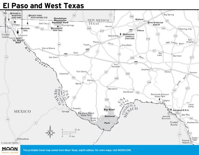 Travel map of El Paso and West Texas