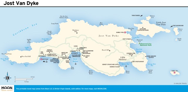 Travel map of Jost Van Dyke, Virgin Islands