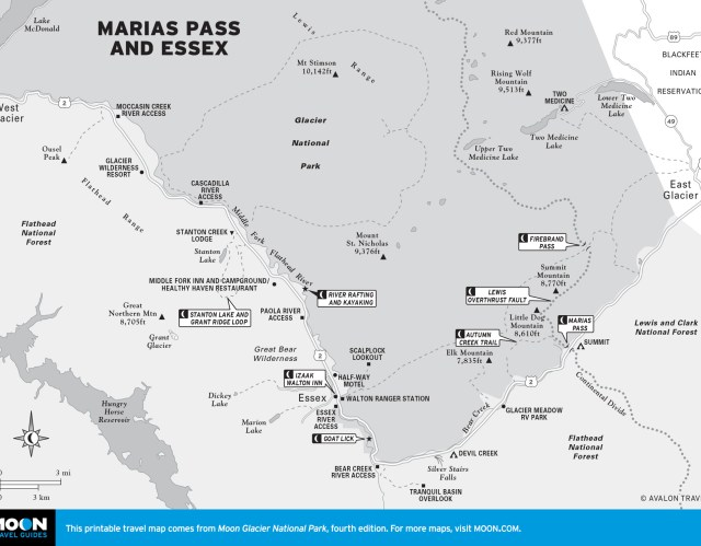 Travel map of Marias Pass and Essex