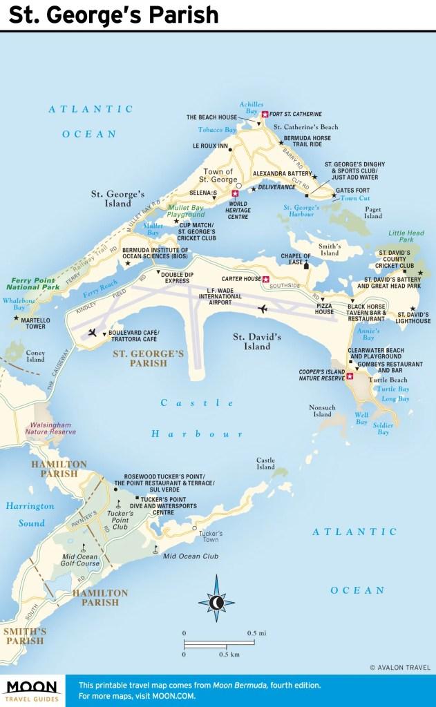 Travel map of St. George's Parish, Bermuda