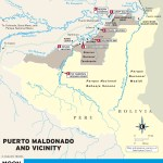 Color travel map of Puerto Maldonado and Vicinity in Peru
