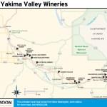 Travel map of Yakima Valley Wineries, Washington