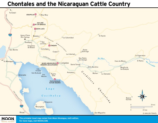 Travel map of Chontales and Cattle Country