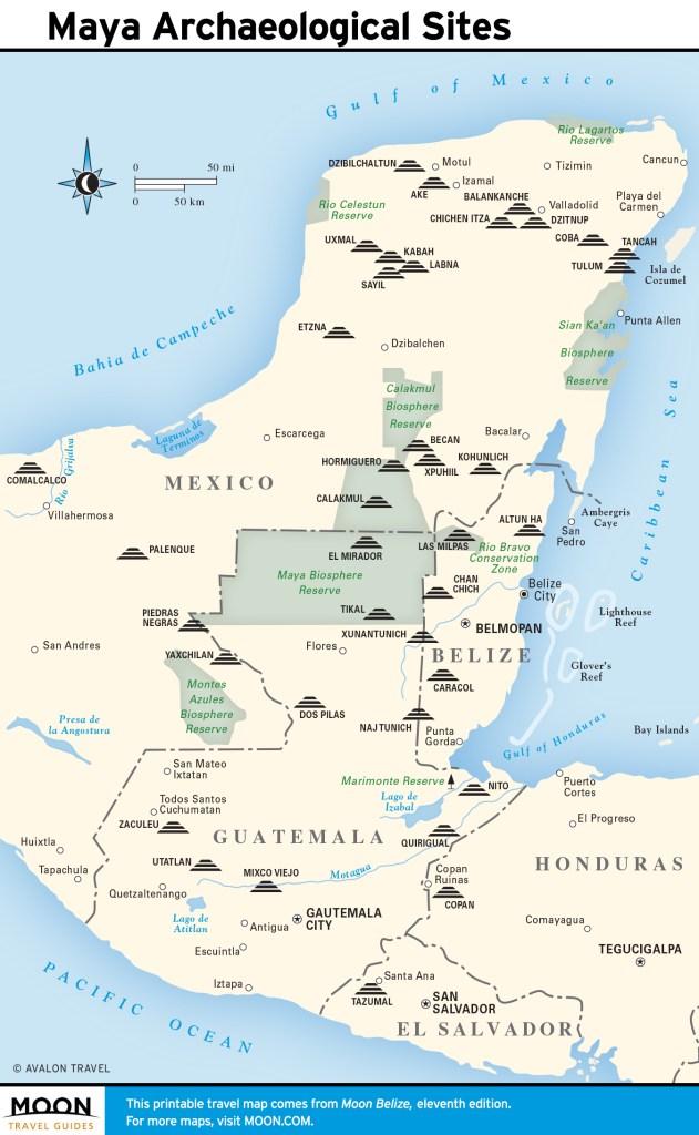 Maps - Belize 11e - Maya Archaeological Sites