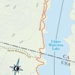 Travel map of Waterton Lakeshore Trail