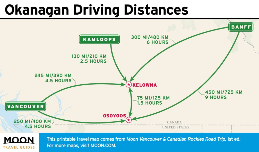 Travel map of driving distances in the Okanagan.