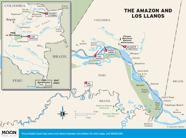 Travel map of The Amazon and Los Llanos, Colombia