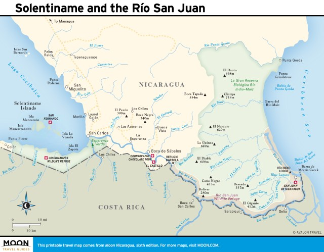 Map of Solentiname and the Río San Juan, Nicaragua