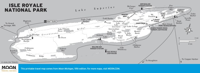 Travel map of Isle Royale National Park, Michigan
