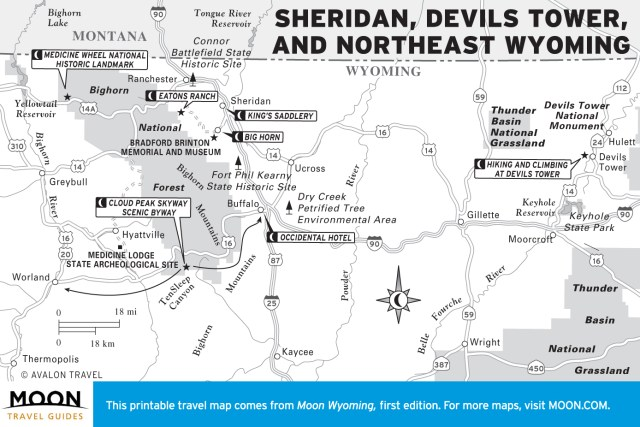 Travel map of Sheridan, Devils Tower, and Northeast Wyoming