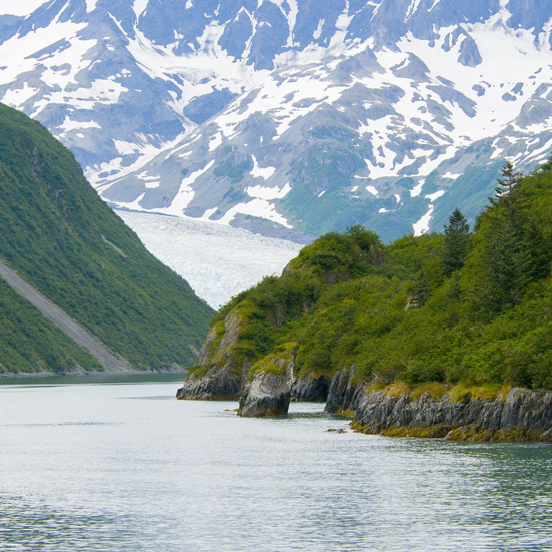 mountains backing Aialik Bay