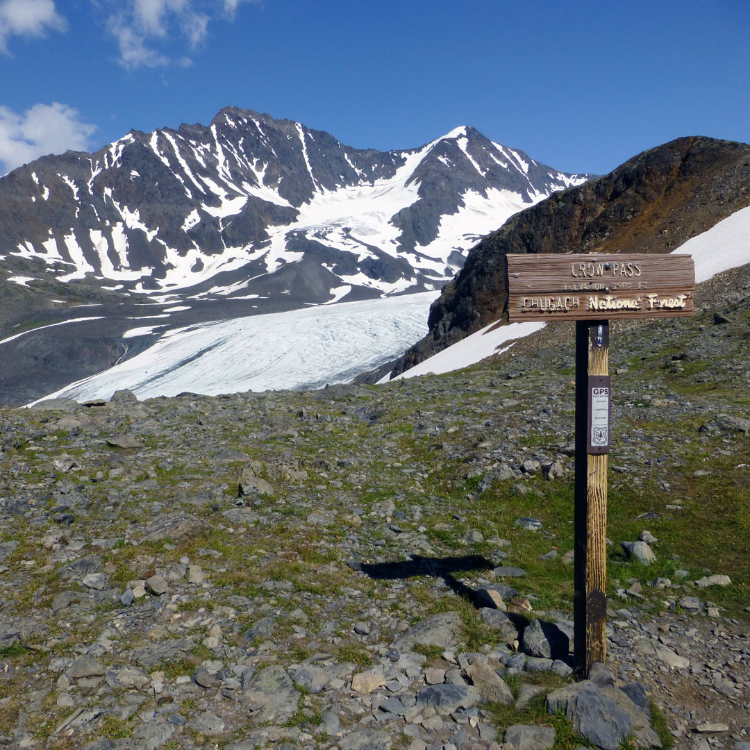 Crow Pass in Chugach National Forest sign
