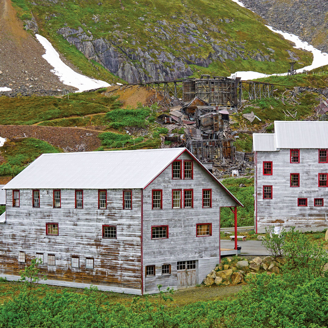 two mining buildings at an old mining camp