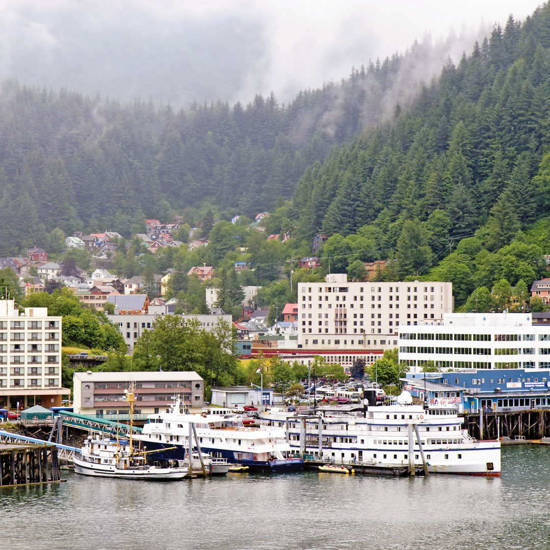 misty day at Juneau harbor