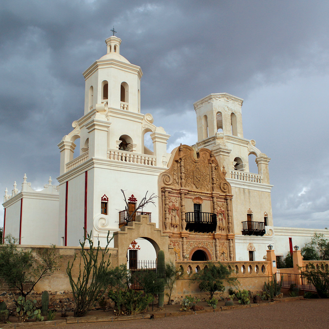 front view of San Xavier del Bac church in Tucson