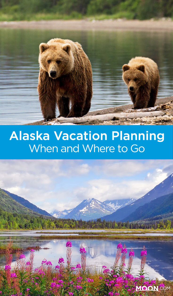when and where to go to alaska pinterest graphic