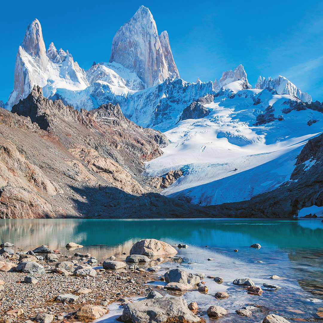 clear green glacial water at the foot of Cerro Fitz Roy in Parque Nacional Los Glaciares