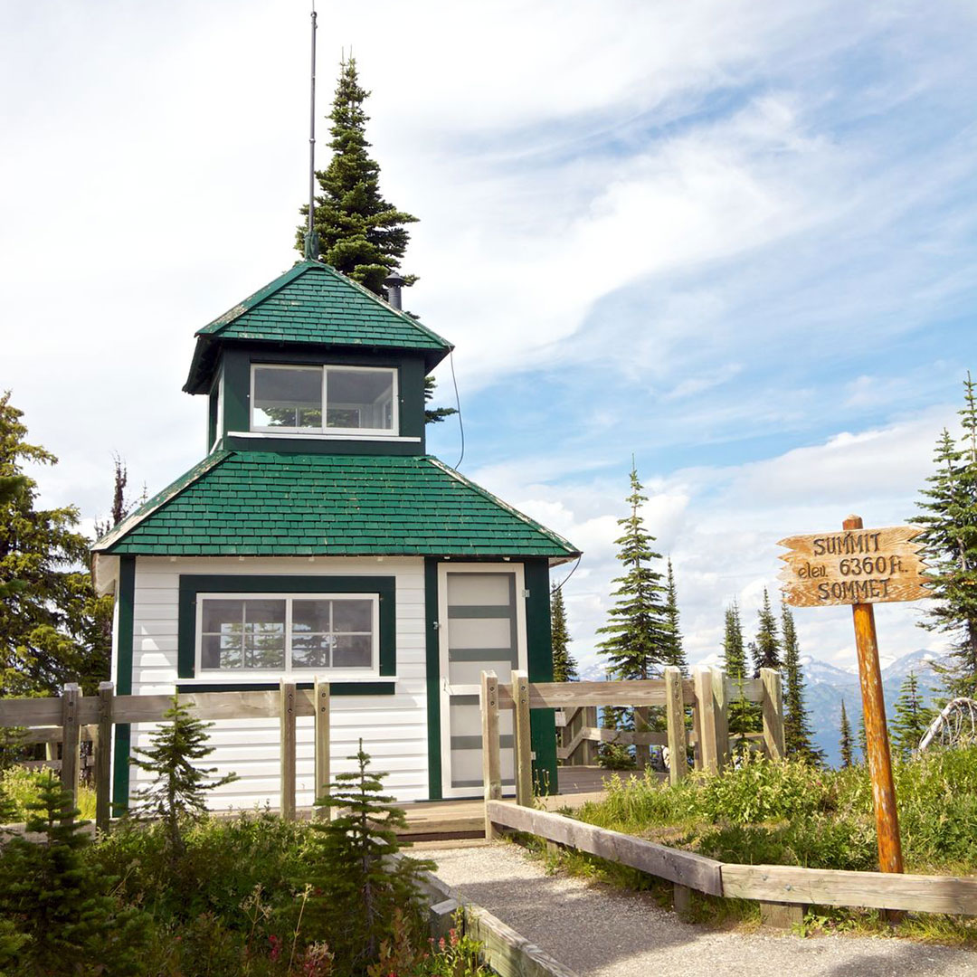 Historic fire watch tower at the summit of Mount Revelstoke.