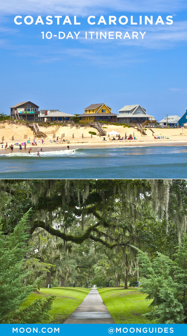 Pinterest graphic with a photo of Nags Head and Brookgreen Gardens
