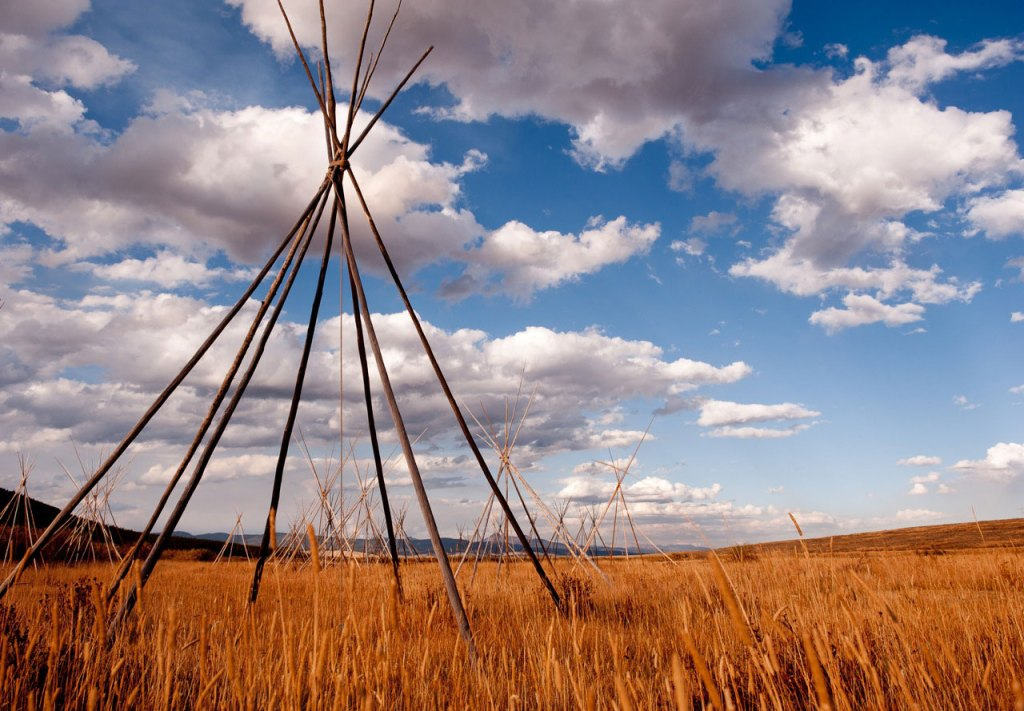 teepee structures in a field