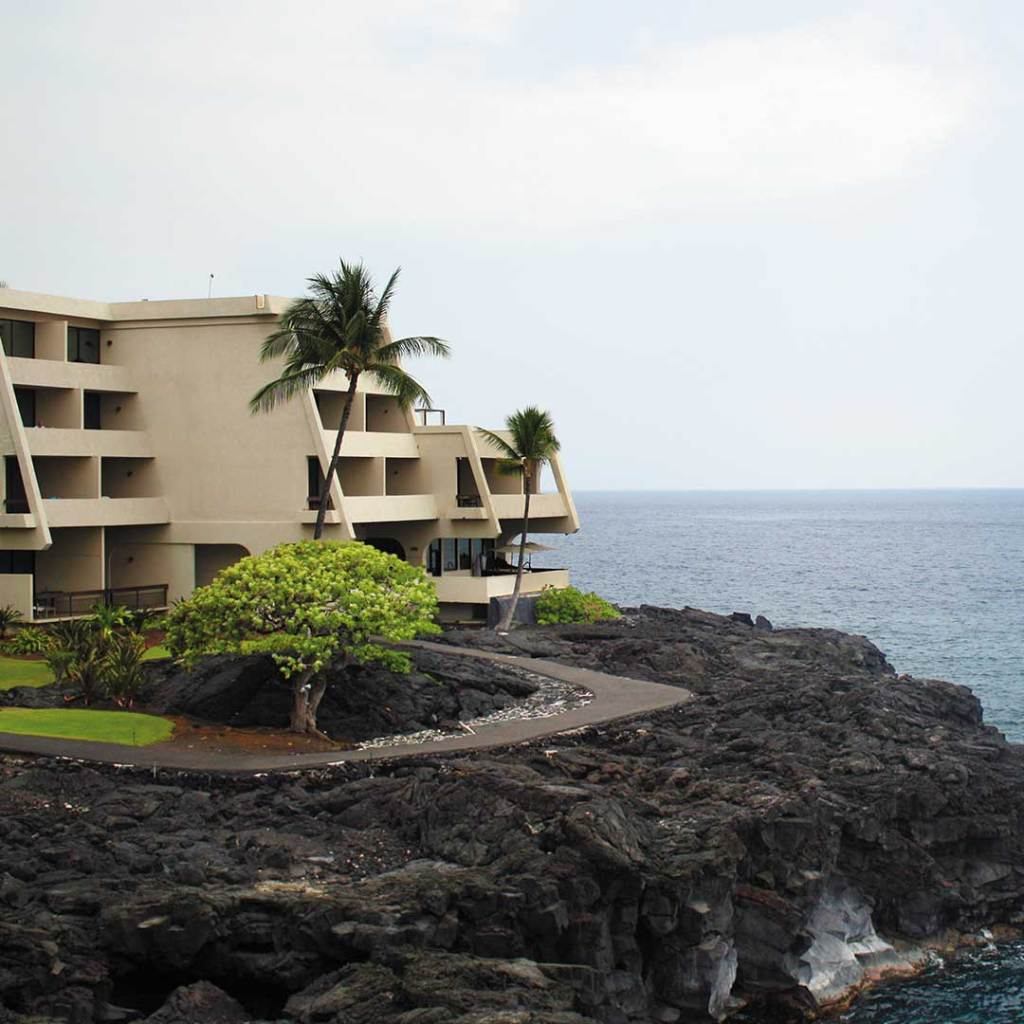 hotel with palm trees on volcanic rock by the ocean