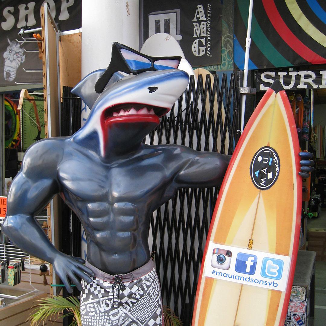 Shark-headed surf sculpture at Venice Beach.
