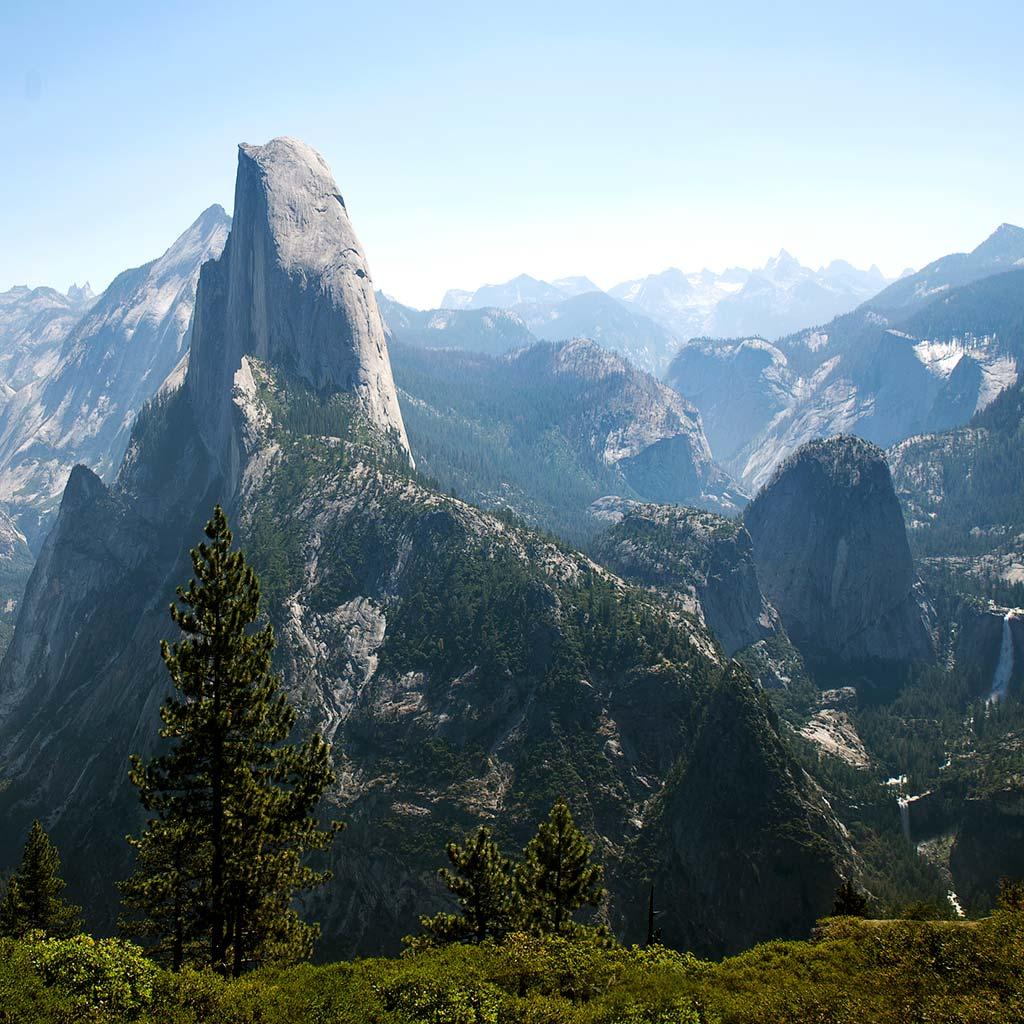 Nearly profile view of Half Dome at Yosemite's Glacier Point.