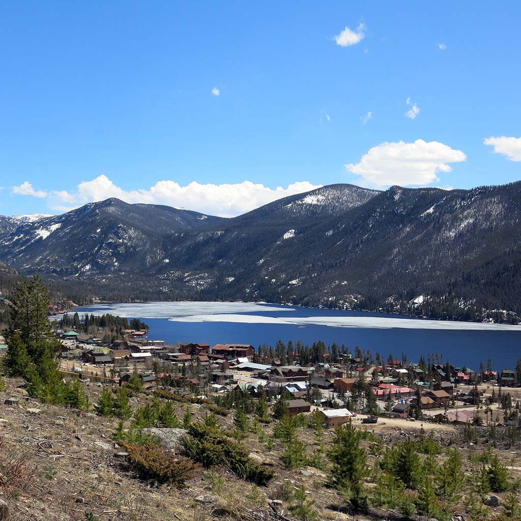 View from a hilltop of the lakeside town of Grand Lake, Colorado.
