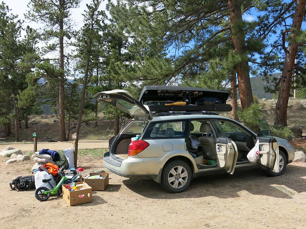 Subaru being packed for family camping trip