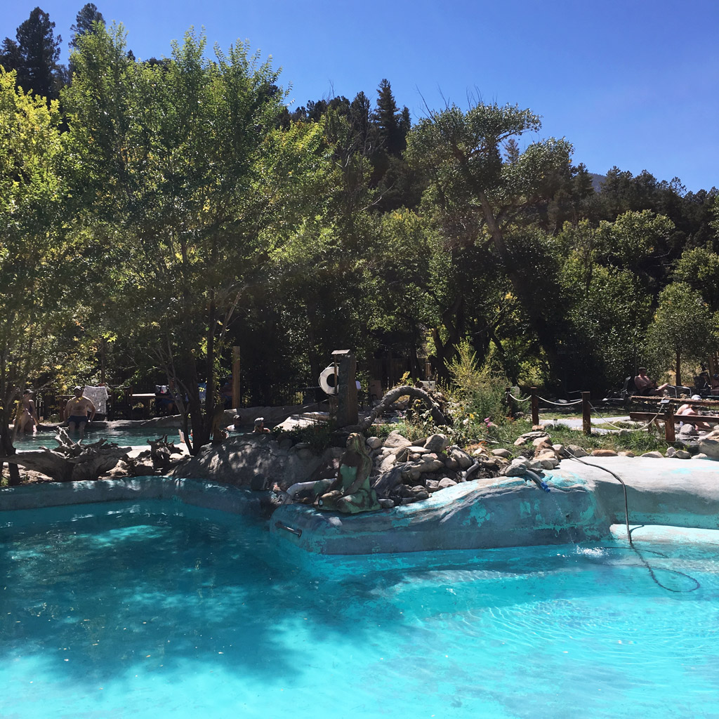 trees surround a pool in Colorado