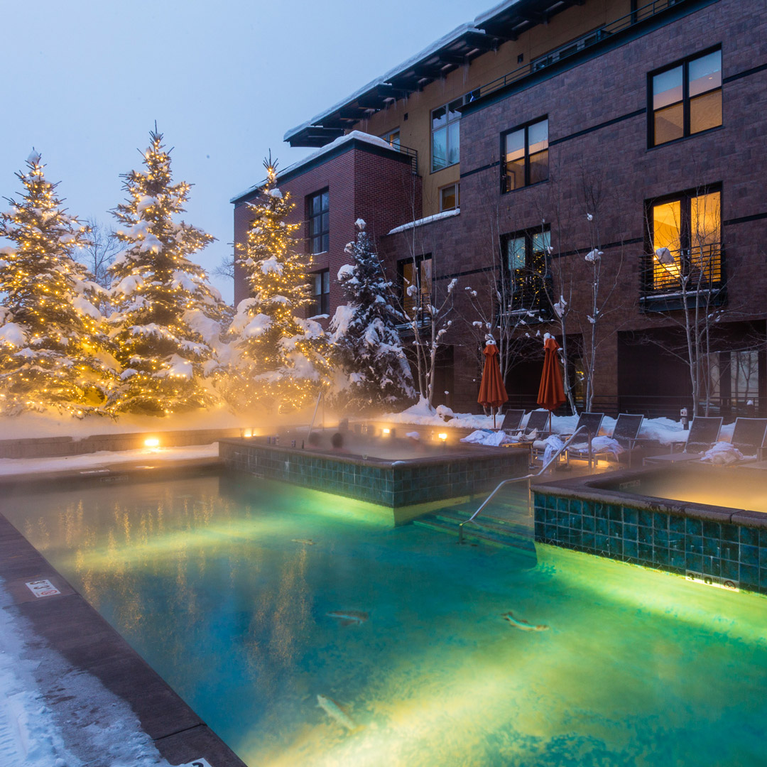 Limelight hotel pool and hot tub in winter