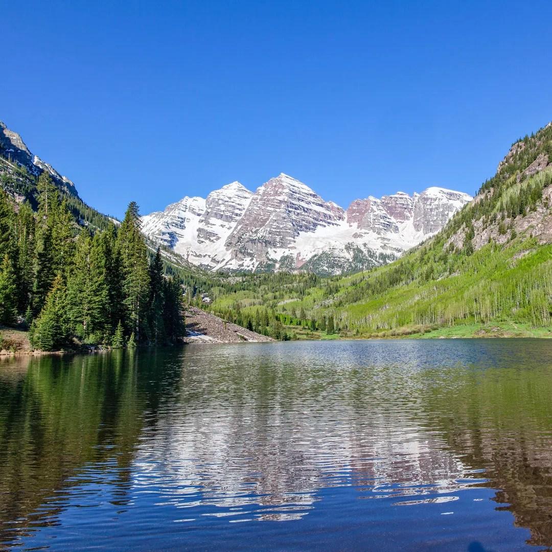 Rocky mountain reflection in lake
