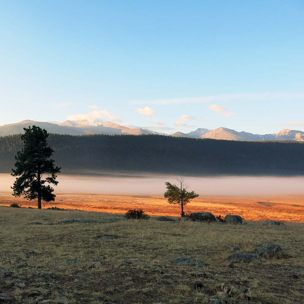 A layer of fog sits in the valley in Rocky Mountain National Park's Moraine Park.