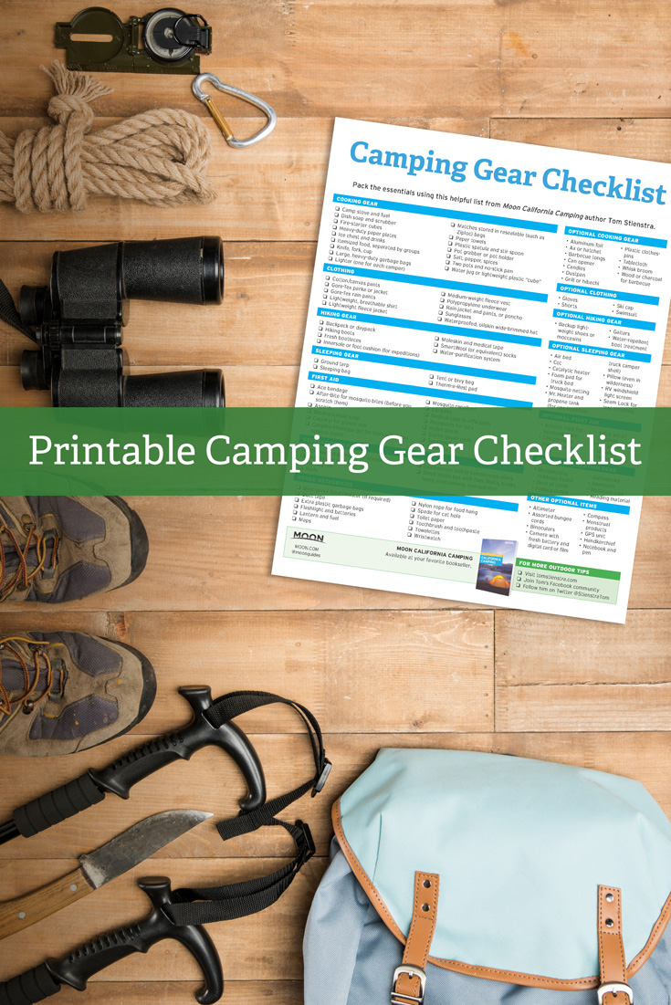 free printable camping checklist from Moon