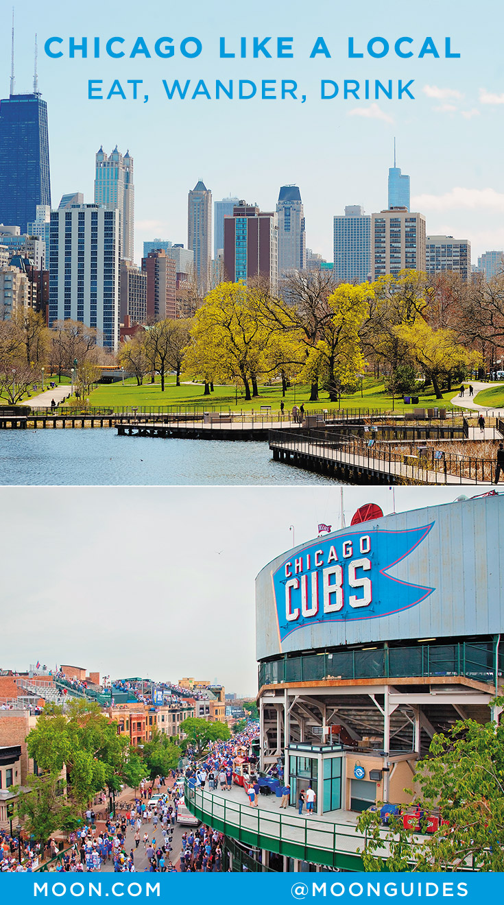 Pinterest graphic with photos of the Chicago skyline and Wrigley field