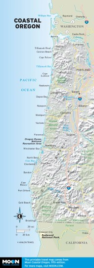 Topographical Map of Coastal Oregon