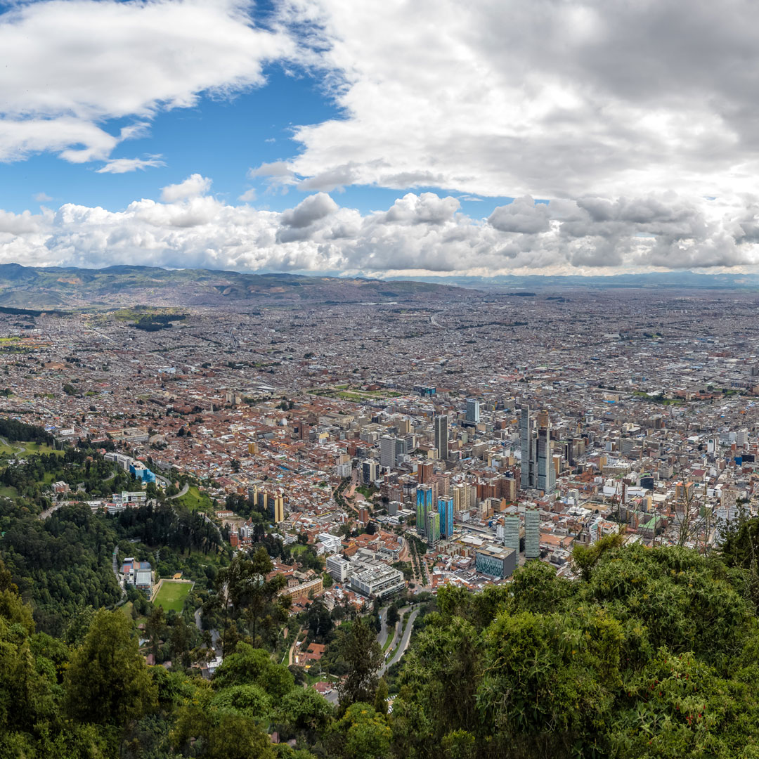 aerial view of the metropolis of Bogota Colombia