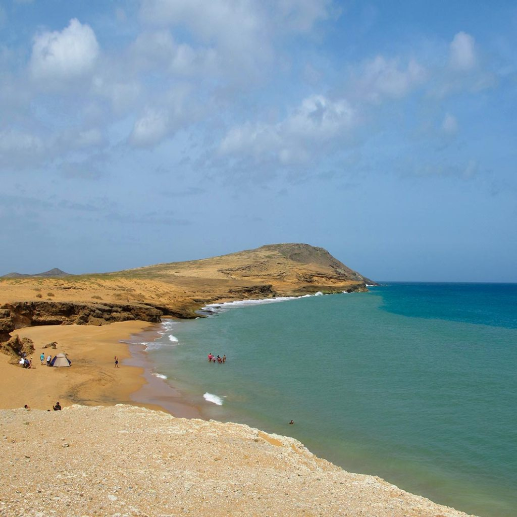 A wide sandy beach near Cabo de la Vela, Colombia.